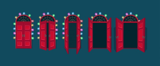 オープンとクローズのハロウィーンのドアの漫画のベクトルイラスト。