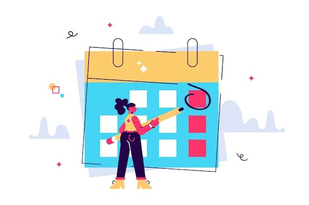 여자 체크 캘린더의 만화 벡터 일러스트 레이 션 메모, 작업 및 하루 계획 개념에 대한 계획이 있습니다. 여성 인간 캐릭터.