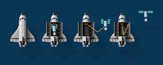 Cartoon vector illustration rocket launch isolated set.