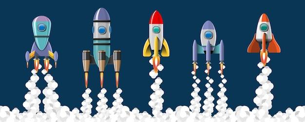 만화 벡터 일러스트 레이 션 로켓 발사 고립 된 집합입니다.