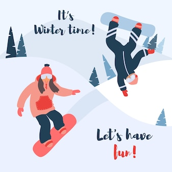 Cartoon vector illustration of snowboarding.
