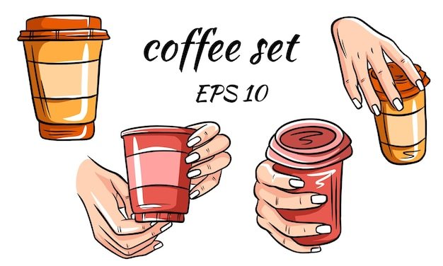 Cartoon vector illustration of some cup of coffee fit for menu, label, collection and assets.