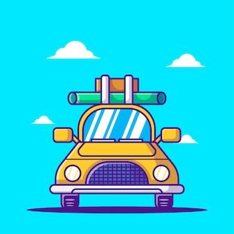 Мультфильм векторные иллюстрации автомобилей для туризма. концепция значок всемирного дня туризма