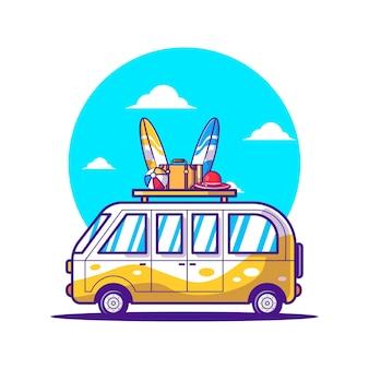 Мультфильм векторные иллюстрации автомобиль путешествия. концепция значок всемирного дня туризма