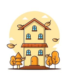 Мультфильм векторные иллюстрации дом осени. осенний день значок концепция