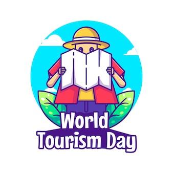 Мультфильм векторные иллюстрации человек смотреть карты. концепция значок всемирного дня туризма