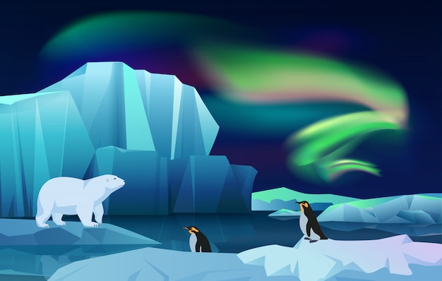 Cartoon vector nature winter arctic ice landscape with iceberg, snow mountains hills. polar night with aurora borealis northen lights. white bear and penguins
