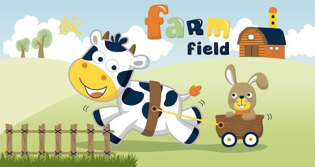 Мультяшный вектор поле фермы с забавными животными