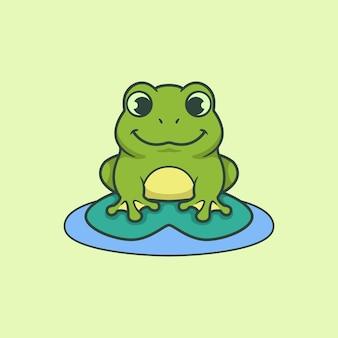 Мультфильм вектор зеленой милой улыбающейся лягушки