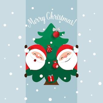 漫画のベクトルサンタクロースと飾られたクリスマスツリー