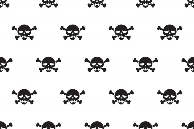 Cartoon vector seamless pattern background of skull and bone