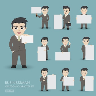 Cartoon vector set.businessman with empty white board for message.