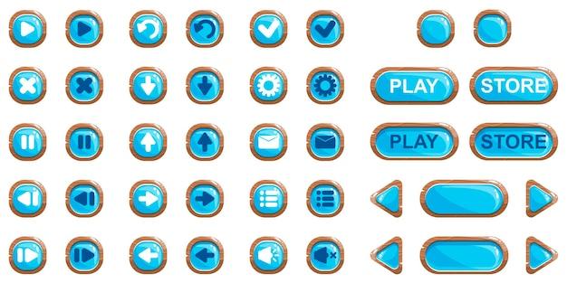 Мультяшный векторный набор кнопок для дизайна игр и приложений