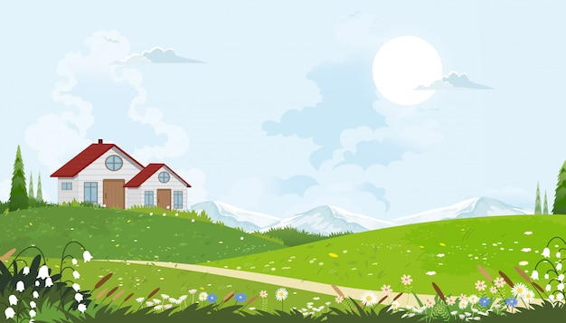Cartoon vector spring landscape with mountain, blue sky and clouds