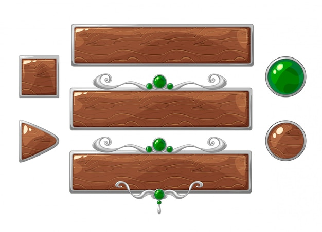 Cartoon vector title wood banners set. silver ranking frames with green gemstones.