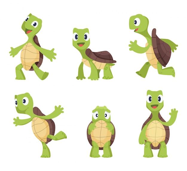 Мультфильм вектор черепаха в разных позах действий