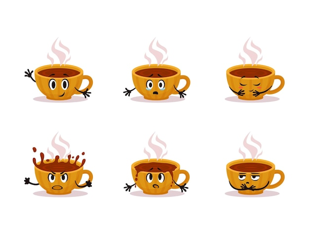 Cartoon vector yellow cup of hot tea emotions pack small cozy ceramic cup character sticker