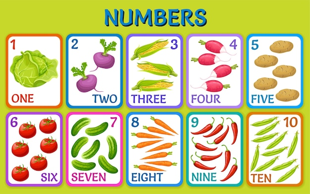 Cartoon vegetables. children cards numbers.