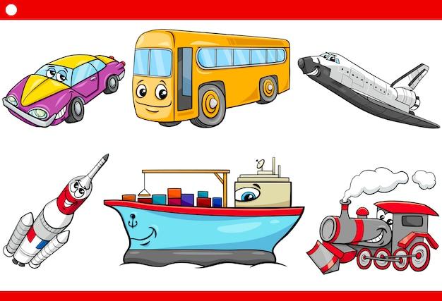 Cartoon vehicle caracters set