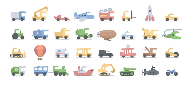 Cartoon vehicles for kids. fuuny drawing transportation for play and education. white background