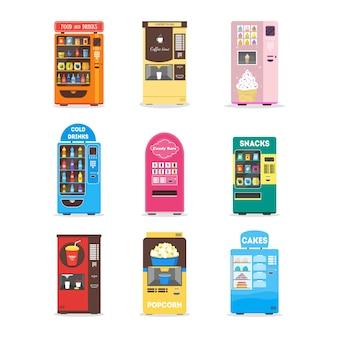 음식, 음료, 케이크, 팝콘, 스낵 및 아이스크림 판매 플랫 만화 자동 판매기 세트.