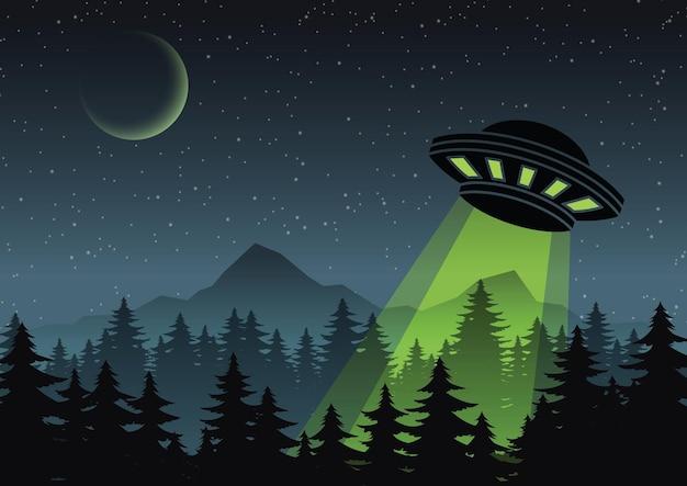 Ufo의 만화 버전 디자인은 숲 그림 위로 날아갑니다.