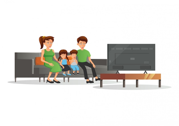 Cartoon version of family member watch to tv illustration