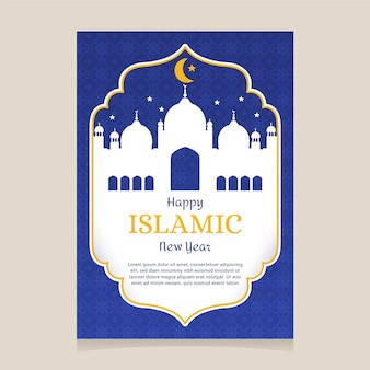 Cartoon vertical islamic new year poster template