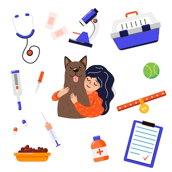Cartoon vet with dog and tools for kids illustrations set