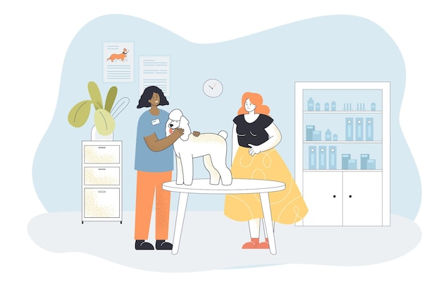 Cartoon veterinarian examining cute dog on table. doctor treating pet at medical center, worried female owner flat illustration