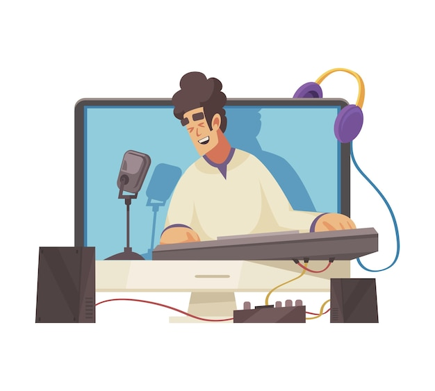 Cartoon video blogger singing and playing keyboard online