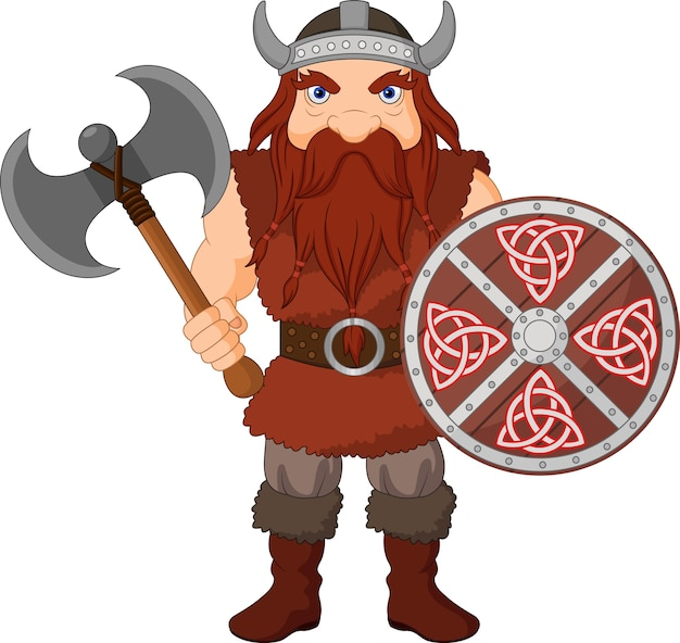 Cartoon viking with axe and wooden shield