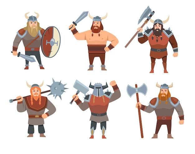 Векторные иллюстрации шаржа викингов