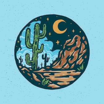 Cartoon vintage desert landscape illustration