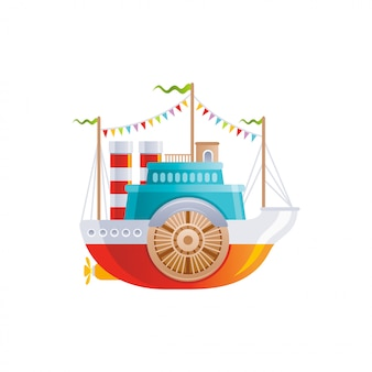 Cartoon vintage ship with wheel icon. old retro river boat, sea travel, cruise and water transport design.