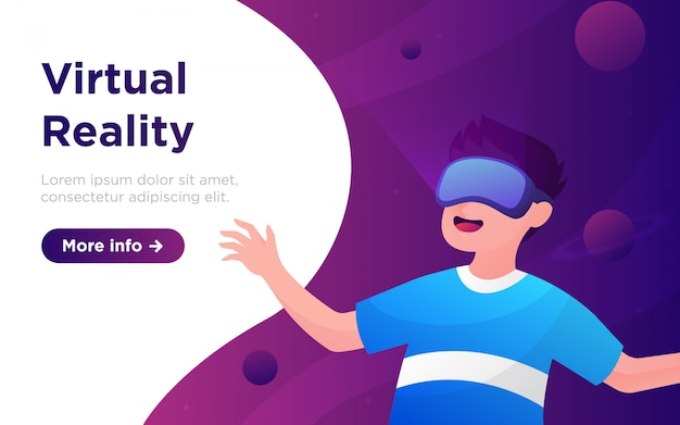 Cartoon virtual reality landing page illustration