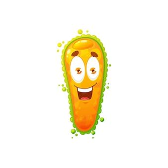 만화 바이러스 세포 벡터 아이콘, 재미있는 얼굴을 가진 귀여운 박테리아 또는 세균 캐릭터. 큰 눈과 이빨을 가진 웃는 병원체 미생물 괴물, 고립된 노란색 인퓨소리아 슬리퍼