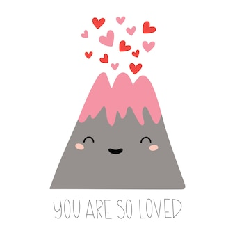 Мультяшный вулкан с сердечками и надписью, которую вы так любите, изолирован на белом