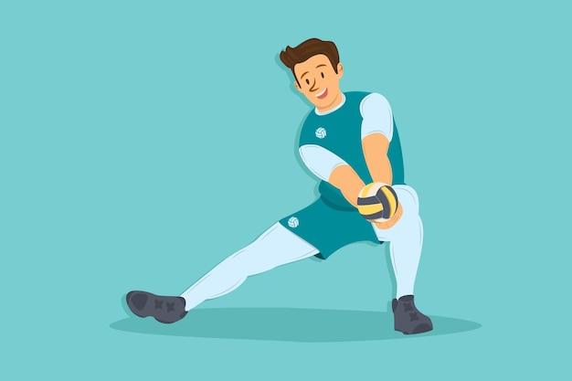 Мультяшный волейболист с мячом