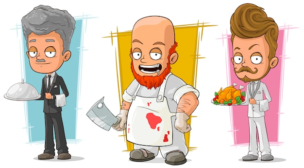 Cartoon waiter and butcher character set