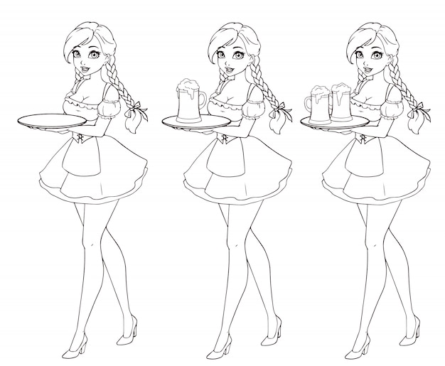 Cartoon waitress holding beer. hand drawn  illustration for octoberfest.