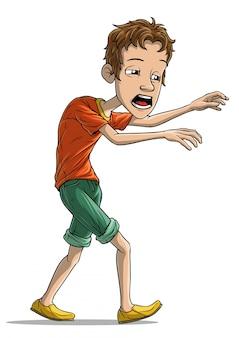 Мультфильм ходьба усталый мальчик персонаж вектор