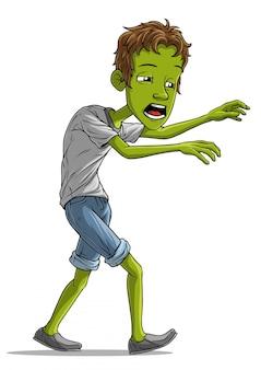 Мультяшный ходячий усталый персонаж зомби