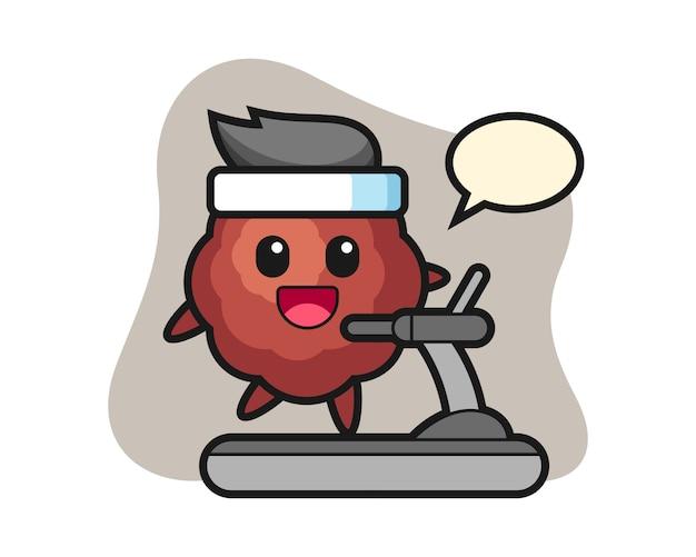 Cartoon walking on the treadmill