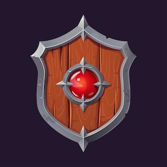 Cartoon war shield with a magic crystal.