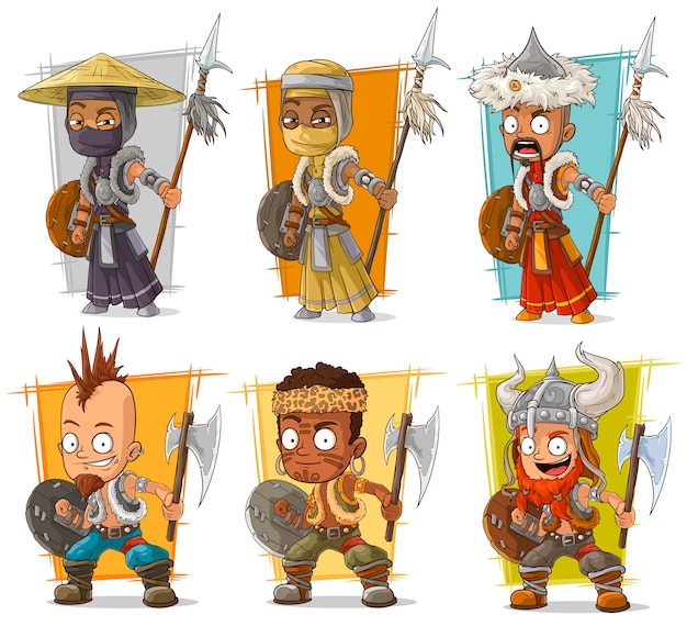 Cartoon warriors with spear character set