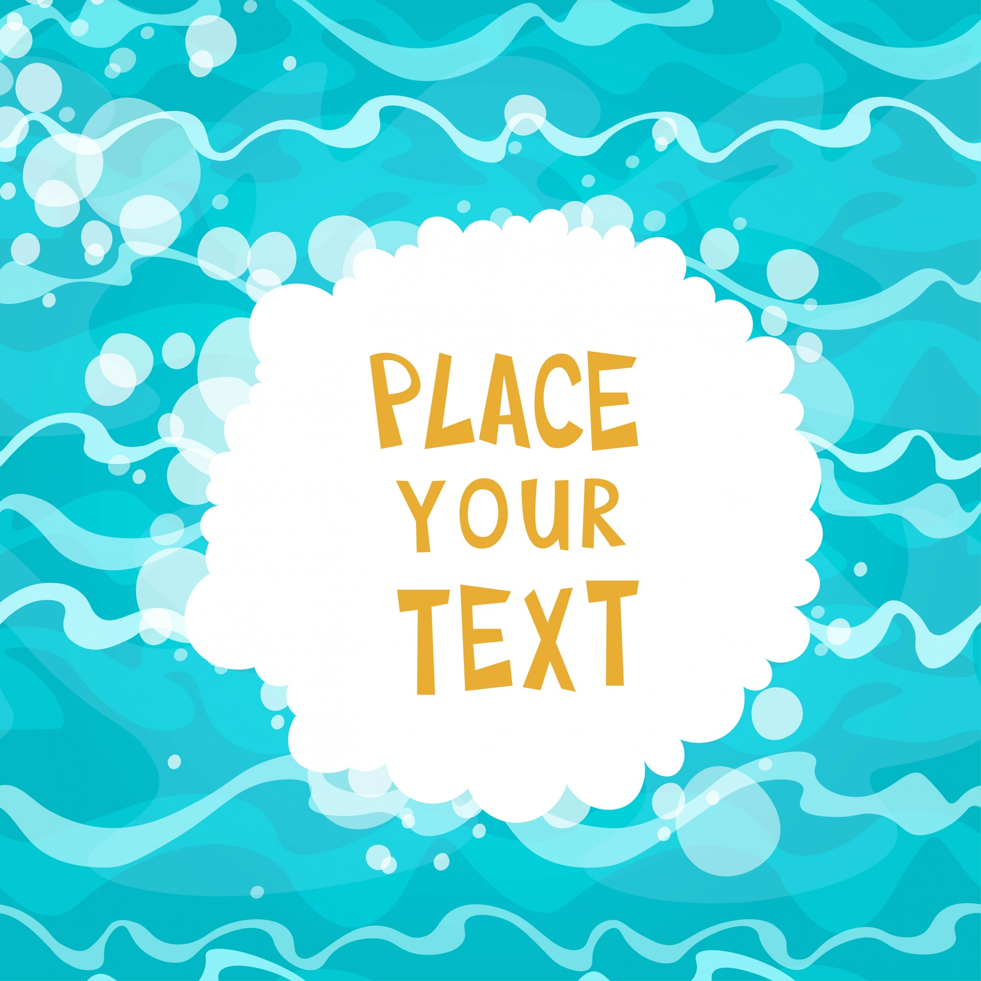 Cartoon water background with text template