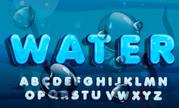 Cartoon water drops font, funny blue alphabet