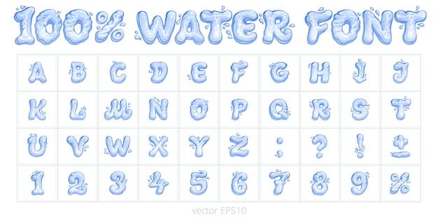 Мультяшный водный шрифт. векторный набор букв, цифр, знаков препинания и знака процента. синие символы и цифры жидкой формы. смешные английский алфавит рисованной с шариковой ручкой.
