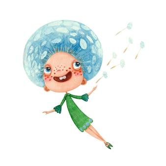 Cartoon watercolor character dandelion girl